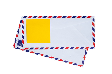 Paper note on airmail envelope