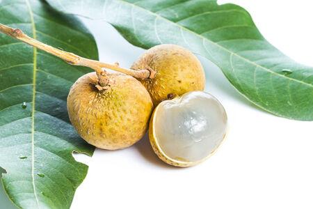 flesh colour: Fresh longan on a white background Stock Photo