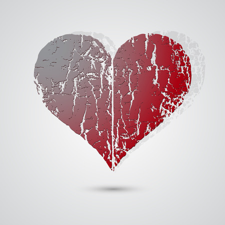 broken love: Valentines day background with heart, Vector illustration