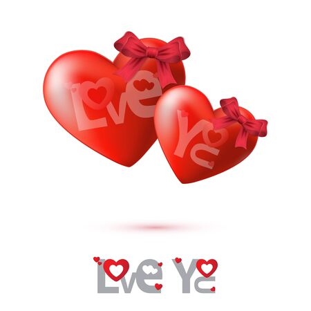 Red Heart on Valentines day background, Vector illustration Vector