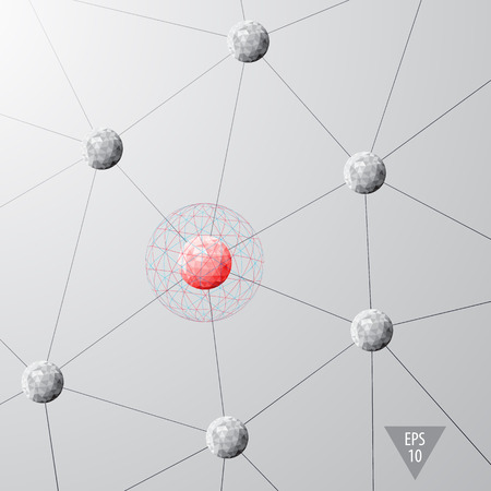 modules: Abstract sphere modules as network nodes connected system background Illustration