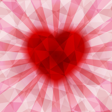 colorful heart: Abstract colorful heart triangular low poly style vector background