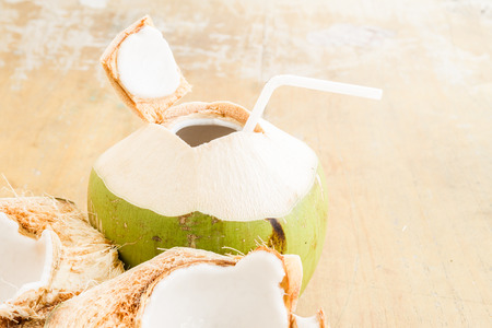 summer drink: Fresh coconut water drink on table