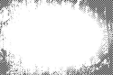 marcos redondos: Frontera del marco del grunge puntos de semitono vector de textura de fondo