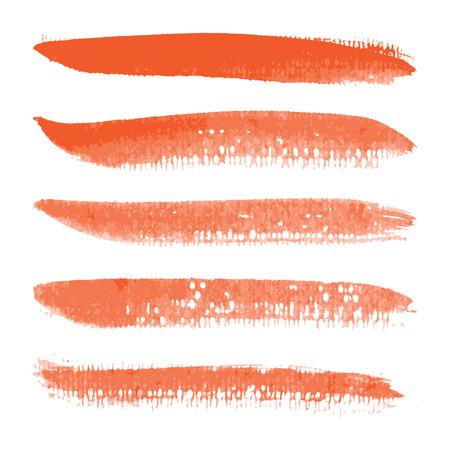 watercolor brush: Orange watercolor brush strokes, Vector illustration EPS 10