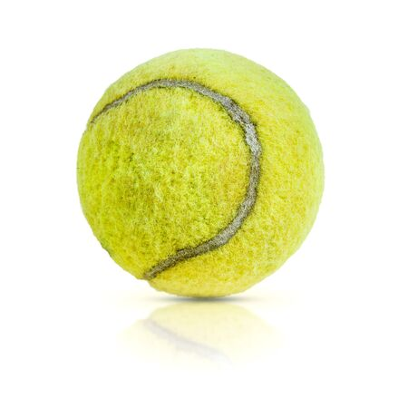 Old tennis ball isolated on white background Stock Photo