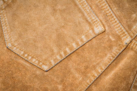 seam: Brown jeans texture with seam Stock Photo