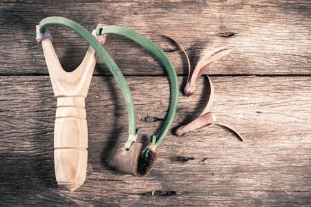 Wooden catapult slingshot with seed plant on wooden floor, vintage style Stock Photo