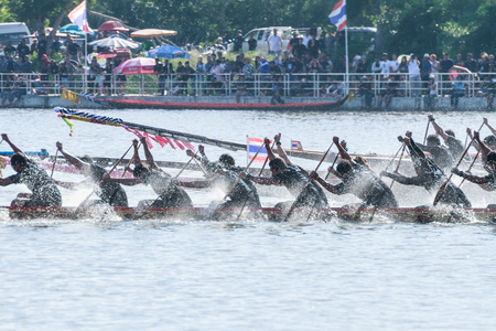 HUAHIN, THAILAND - NOV 13 : Unidentified crew in traditional Thai long boats during event boat race in honor of Majesty King Bhumibol Adulyadej on November 13, 2016 in Huahin, Prachuapkhirikhan Editorial