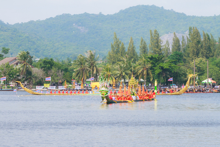 adulyadej: HUAHIN, THAILAND - NOV 13 : Traditional Thai long boats event during in honor of Majesty King Bhumibol Adulyadej on November 13, 2016 in Huahin, Prachuapkhirikhan.Thailands King has died after 70 years as head of state Editorial