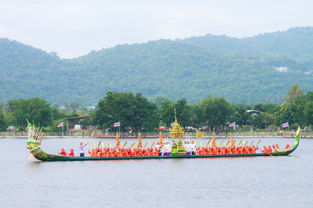 HUAHIN, THAILAND - NOV 13 : Traditional Thai long boats event during in honor of Majesty King Bhumibol Adulyadej on November 13, 2016 in Huahin, Prachuapkhirikhan.Thailands King has died after 70 years as head of state Editorial