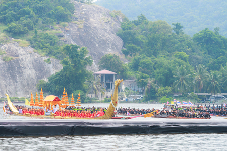 dragonboat: HUAHIN, THAILAND - NOV 13 : Traditional Thai long boats event during in honor of Majesty King Bhumibol Adulyadej on November 13, 2016 in Huahin, Prachuapkhirikhan.Thailands King has died after 70 years as head of state Editorial