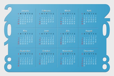 2018 Year Calendar Vector Design template. Week starts from Sunday. Vector Illustration