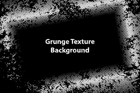 Border Frame Grunge Texture with Overlay Halftone Dots Effect, Vector Background Illustration EPS 10