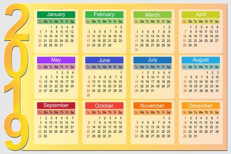 Colorful 2019 Year Calendar Vector Design template, Vector Illustration eps10 矢量图像