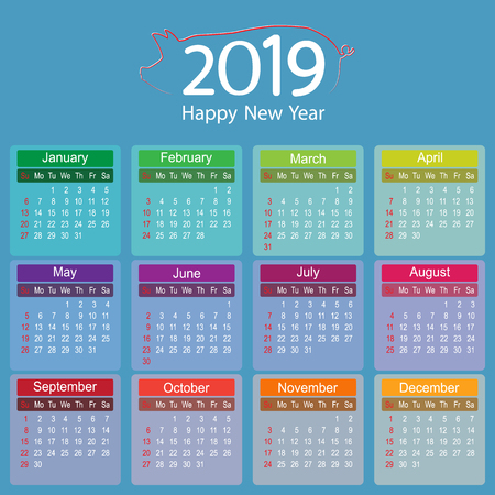 Colorful 2019 Year Calendar Planner of Pig Vector Design template, Vector Illustration eps10