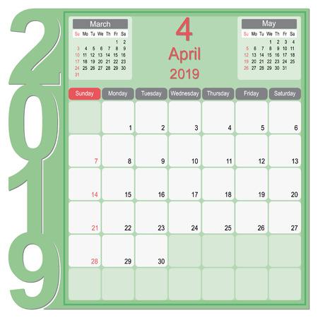 Conception de calendrier mensuel de calendrier 2019, conception de calendrier de vecteur année avril 2019