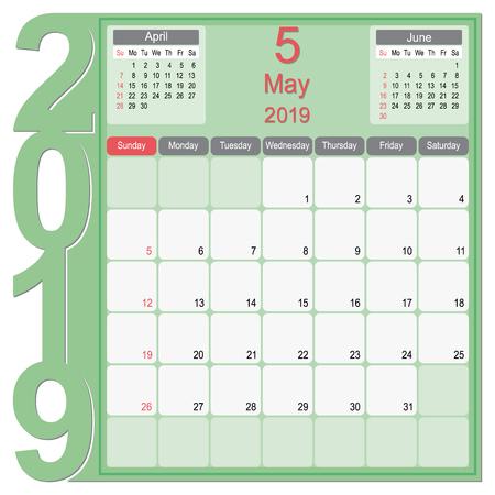 2019 Calendar Monthly Planner Design, May 2019 year vector calendar design