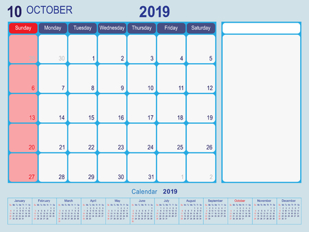 2019 Calendar Monthly Planner Design, October 2019 year vector calendar design