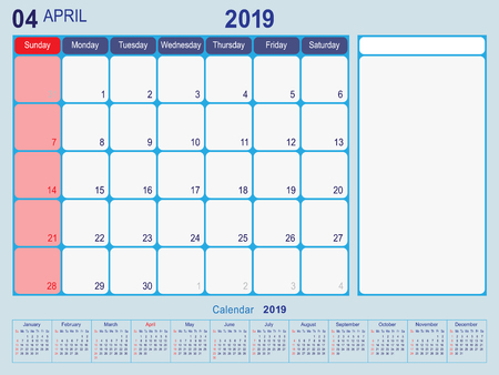 2019 Calendar Monthly Planner Design, April 2019 year vector calendar design Иллюстрация