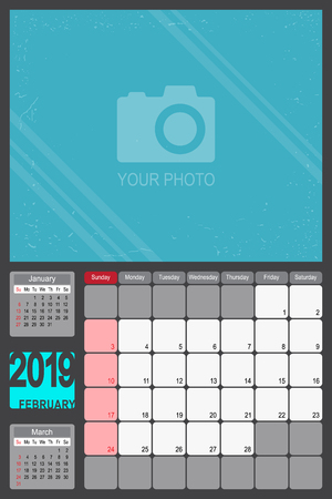 2019 Calendar Monthly Planner Design with Place of Photo, February 2019 year vector calendar design