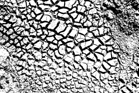Dry Cracked Earth Texture Background, Vector Illustrator EPS10 Çizim