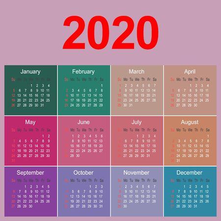 Plantilla de planificador de calendario colorido año 2020, ilustración de vector de plantilla de diseño de negocios
