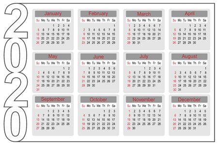 Calendario anno 2020 modello di pianificatore semplice e pulito, illustrazione vettoriale del modello di progettazione aziendale Vettoriali
