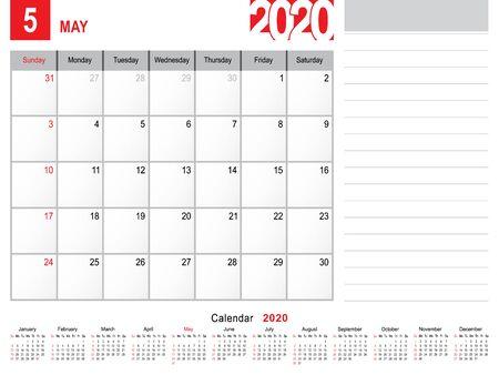 2020 Calendar Monthly Planner Design, May 2020 year vector calendar design Vector Illustration