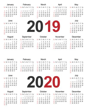 Kalenderplanervorlage für 2019 und 2020, Business-Design-Vorlagenvektorillustration Vektorgrafik