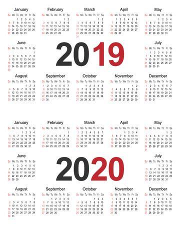 Plantilla de planificador de calendario de año 2019 y 2020, ilustración de vector de plantilla de diseño de negocios Ilustración de vector