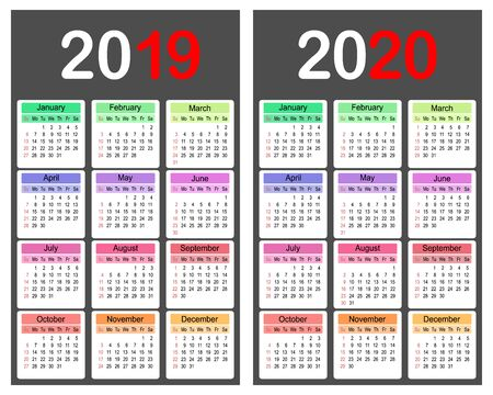 2019 and 2020 year calendar planner template, business design template vector illustration
