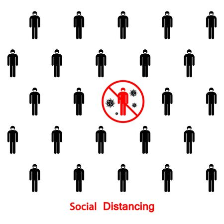 Social distancing to protect from Covid 19. Keep distance sign icon vector illustration. Stop coronavirus influenza pandemic.