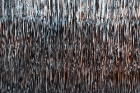 Texture of sticks within a brush fence, landscaping fencing – close-up detail, part of the wall of bungalow in Maldives made of dry palm leaves and branches