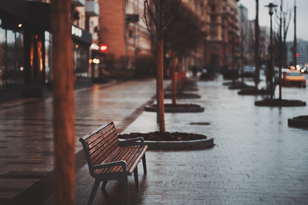Empty wet lonely bench standing on pavement boulevard in rainy autumn day with raws of naked trees around, cars, houses and illuminated signboards in defocused background with strong bokeh, evening Banco de Imagens