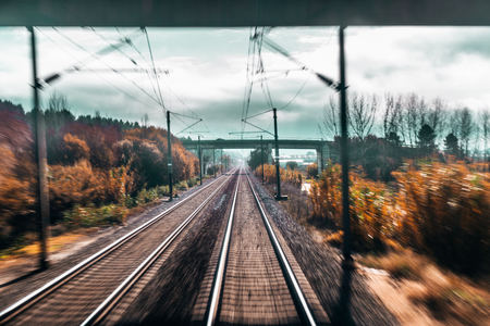 Shooting cabin from a high-speed train passing under the bridge: two railway tracks stretching into vanishing point, bridge in distance, naked trees and autumn plants, dull sky, posts with wires