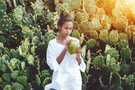 Portrait of young exquisite African American female drinking fresh coco water in front of wall of cactuses; cute black girl in chemise with coconut is slaking her thirst next to green hedge