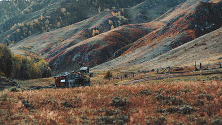 Amazing mountain scenery with a forsaken wooden hutch and the meadow in the foreground and hills ridge and with pastures and stalls buildings in the background; early autumn in Altai mountains Stok Fotoğraf