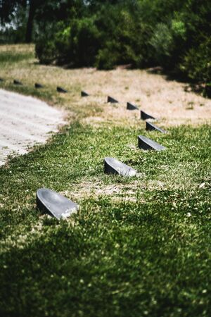Vertical view from the ground with a shallow depth of field of a bent sequence of small directional lamps of the landscape lighting surrounded by lawn grass and bushes, selective focus on second lamp