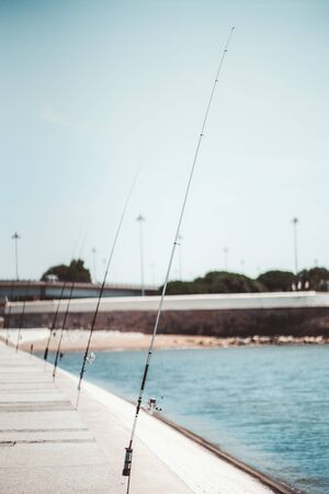 A vertical view with the shallow depth of field of multiple modern fishing rods on the city waterfront with selective focus on the first one, with a waterline on the right and the pavement on the left