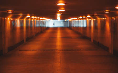 View with a shallow depth of field of a long underground pass with three rows of lamps stretching into the vanishing point with a human silhouette at the end, selective focus in the foreground