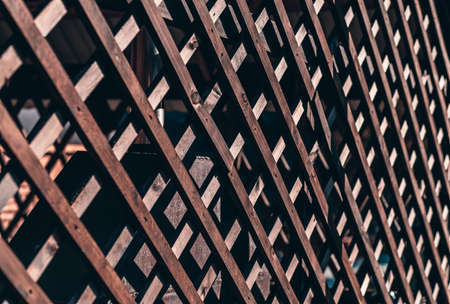 A perspective view of a wooden fence trellis battens outdoors of a summer house veranda on a sunny day, with a shallow depth of field and selective focus in the middle of the image
