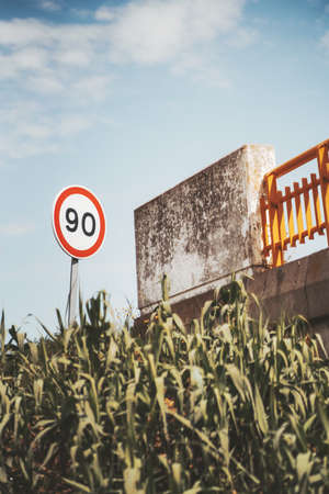 """A colorful minimalist vertical shot with a speed limit road sign """"90"""" near a highway and a concrete bridge with an orange metal fence, thickets of high sedge of faded green color in the foreground Reklamní fotografie"""