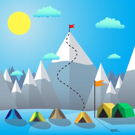 performance improvement: Flag On The Mountain Peak. Goal Achievement. Flat design vector illustration