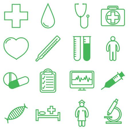 surgery doctor: Medical icons set. Vector illustration in linear (flat) design. Illustration