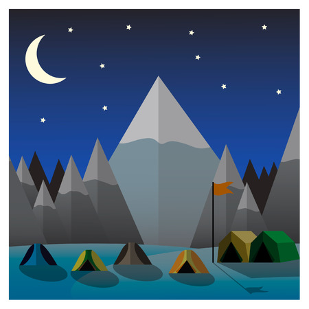 Mountain camp at night. Flat design vector illustration Vector