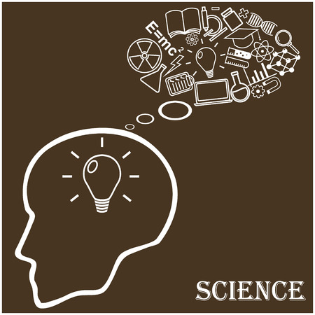 learning process: Human head and icons of science. The concept of scientific discoveries. Education and learning process. Vector illustration in linear style.