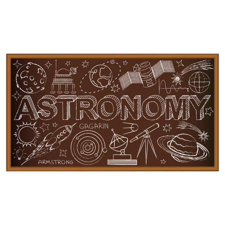 sattelite: School board doodle with astronomy symbols. Vector illustration. Set of education and learning doodles with school objects. Illustration