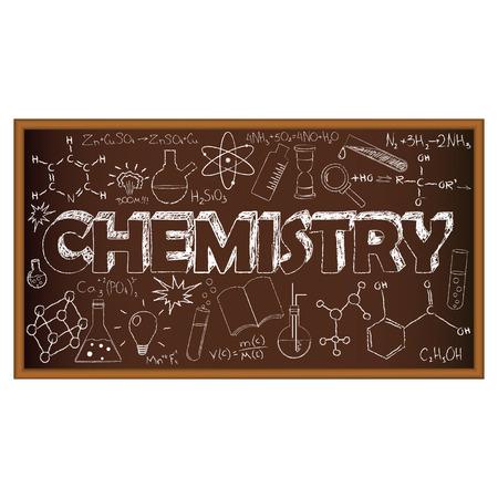 qu�mica: Doodle del consejo escolar con s�mbolos qu�micos. Ilustraci�n del vector. Conjunto de educaci�n y aprendizaje garabatos con objetos de la escuela.