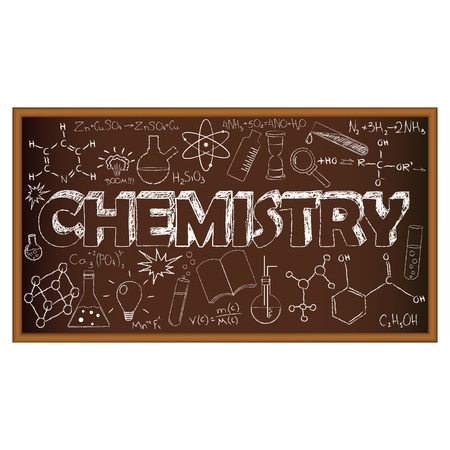 chemistry formula: School board doodle with chemistry symbols. Vector illustration. Set of education and learning doodles with school objects.